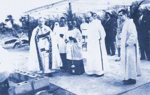 The ground breaking ceremony of the Saint Joseph´s Catholic Hospital in 1963, performed by Archbishop Francis Carroll