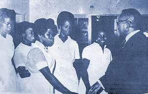 Nurses of the Saint Joseph´s Catholic Hospital of Monrovia, Liberia, meet President Tubman in 1967